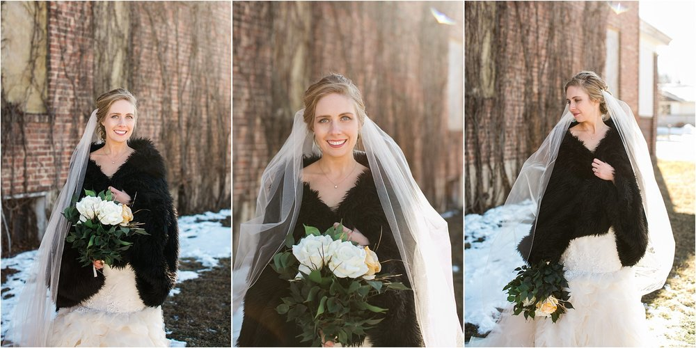 winter bride with long veil and black fur shawl
