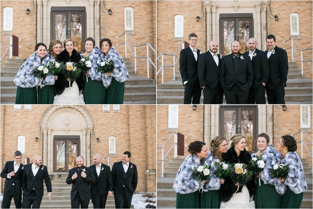 green and gold wedding party with fur shawls