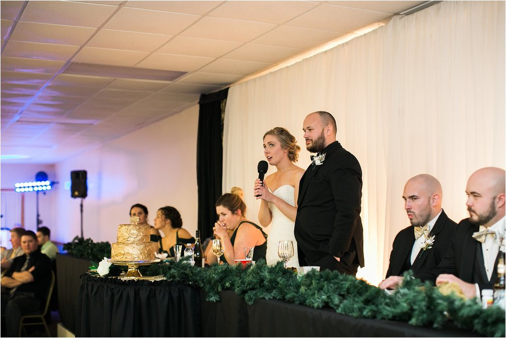 bride and groom speech green and gold
