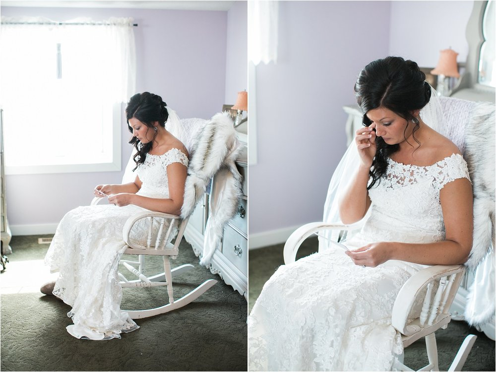 bride reading letter from groom in antique rocking chair