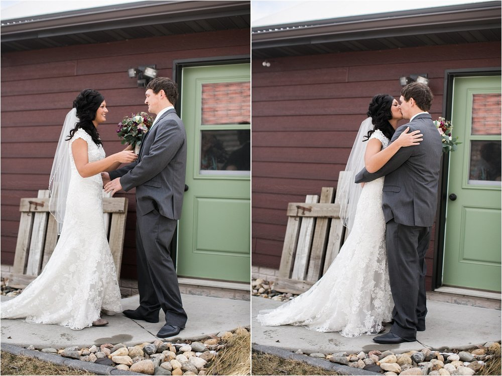 first look with groom and bride outdoors near green door