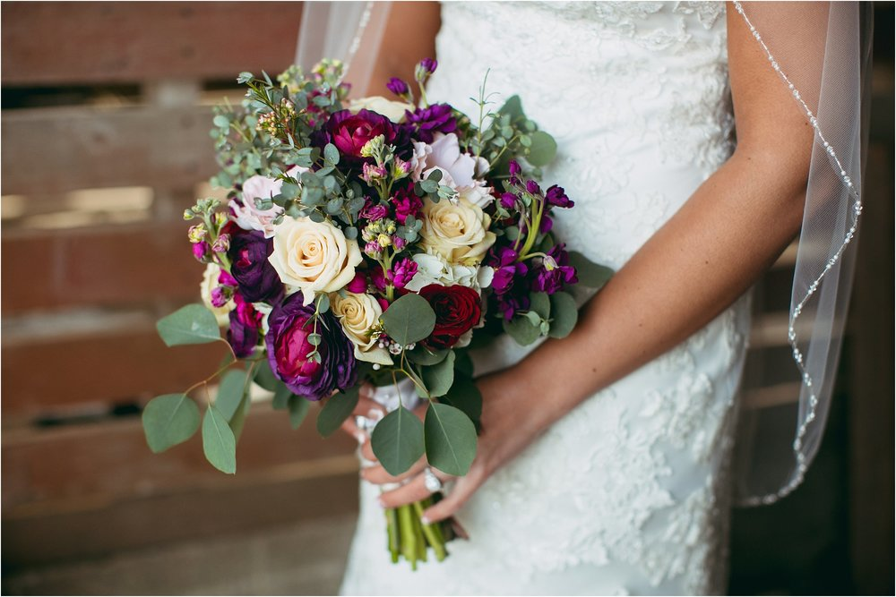 gorgeous purple and wine bridal bouquet
