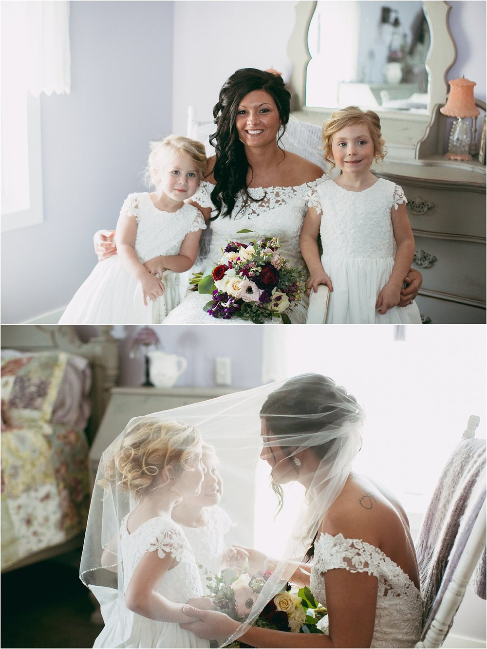 flower girls under brides veil