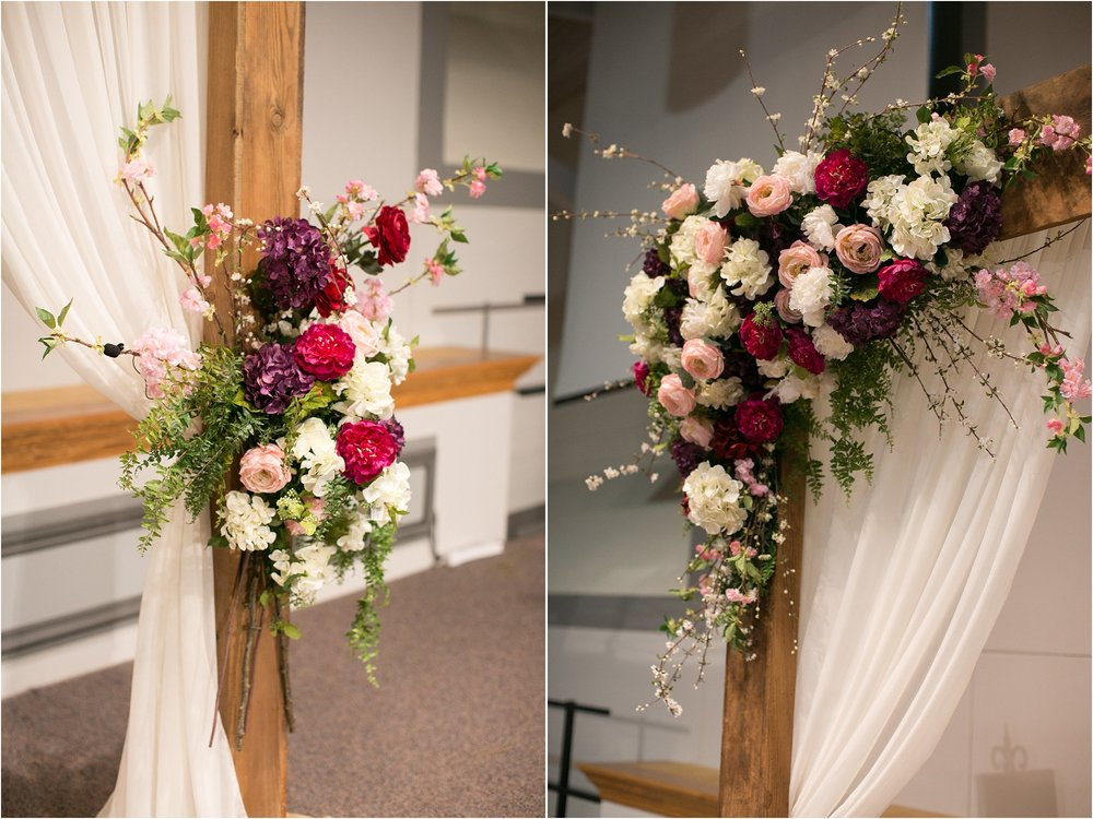 wedding ceremony decor bold floral arrangements on arch