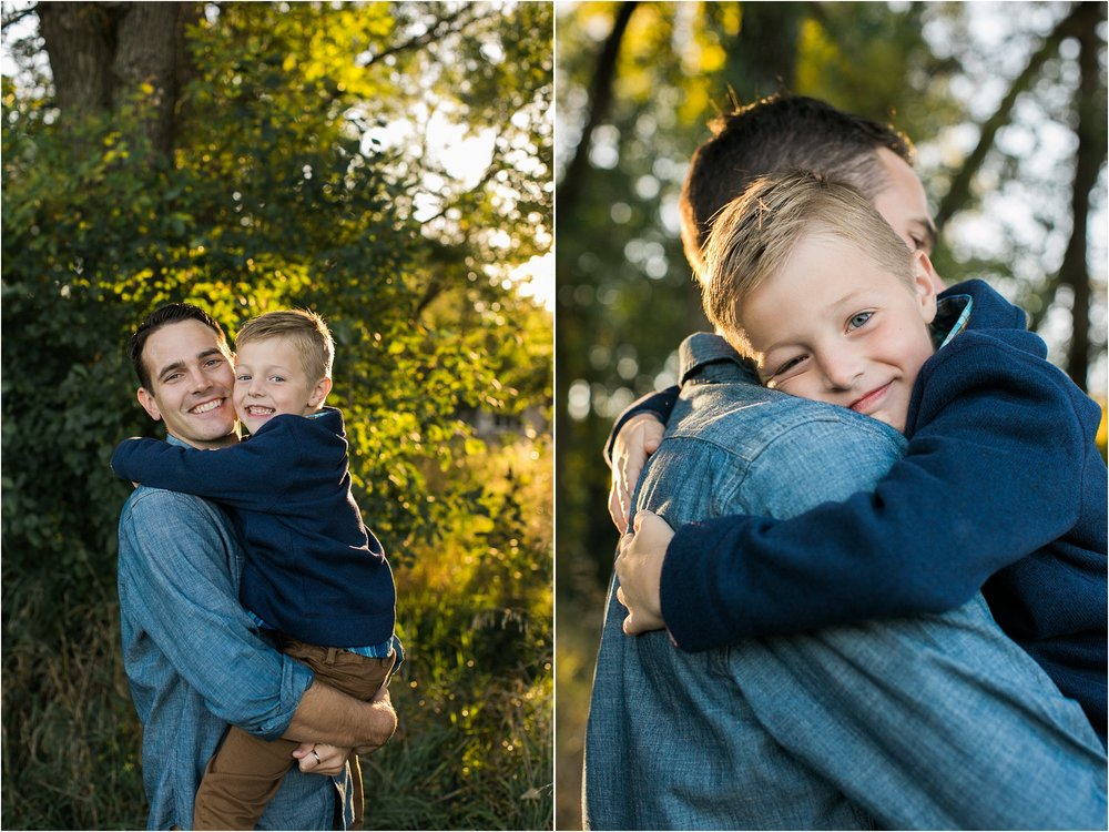 Dad and son hugging