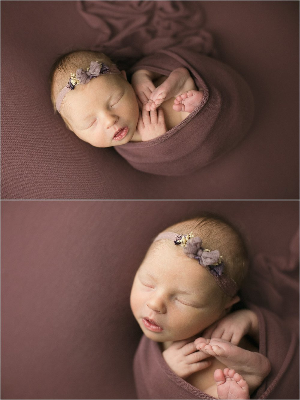 newborn girl wrapped in purple with purple floral bow headband