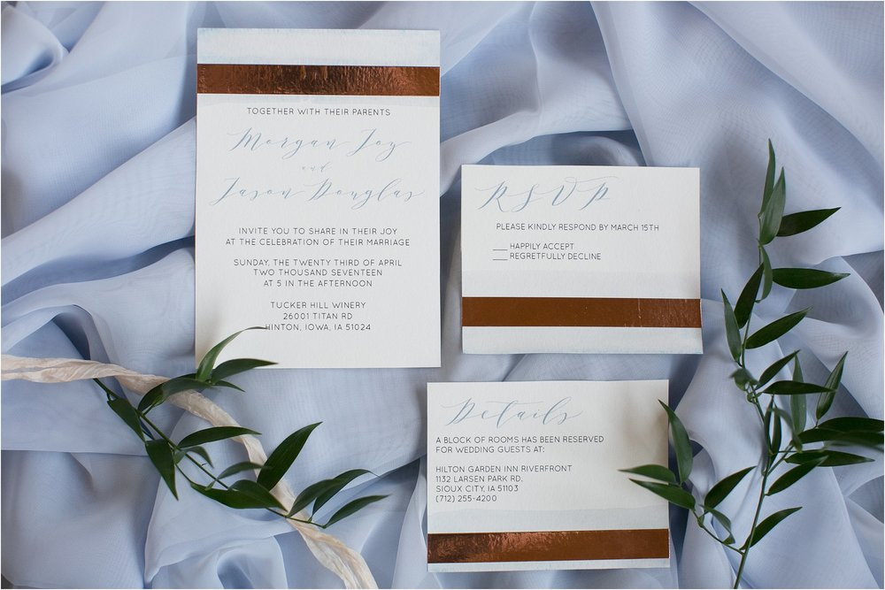 copper and dusty blue wedding invitations