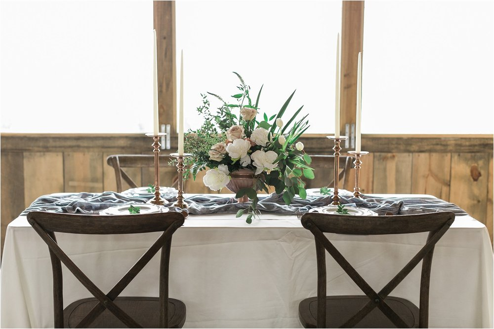 copper and dusty blue modern vintage wedding table decor