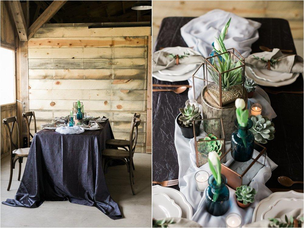copper vases succulents and blue vases wedding centerpiece decor