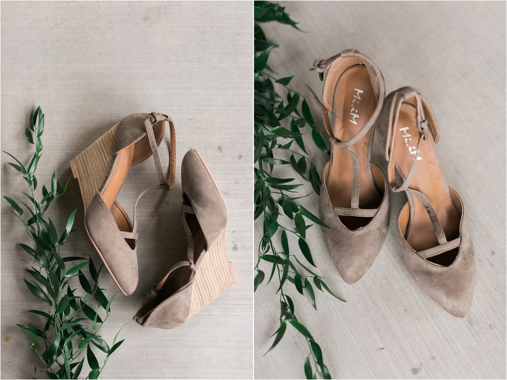 Greige strappy wedding day wedge shoes with greenery