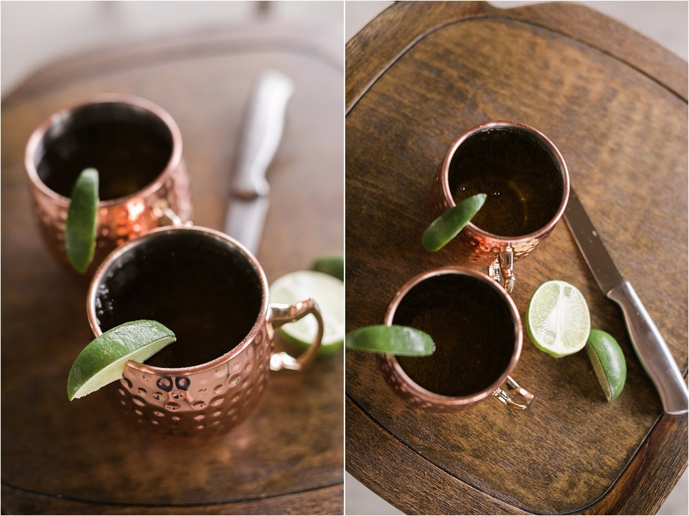 copper mugs moscow mules with a lime