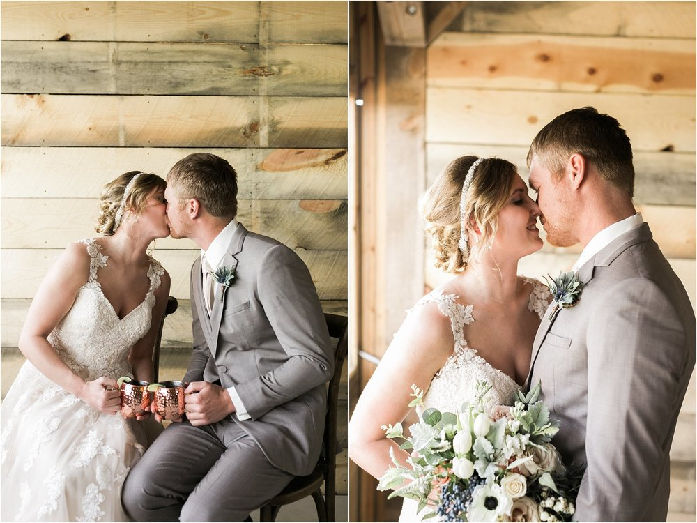 bride and groom with copper mugs kissing