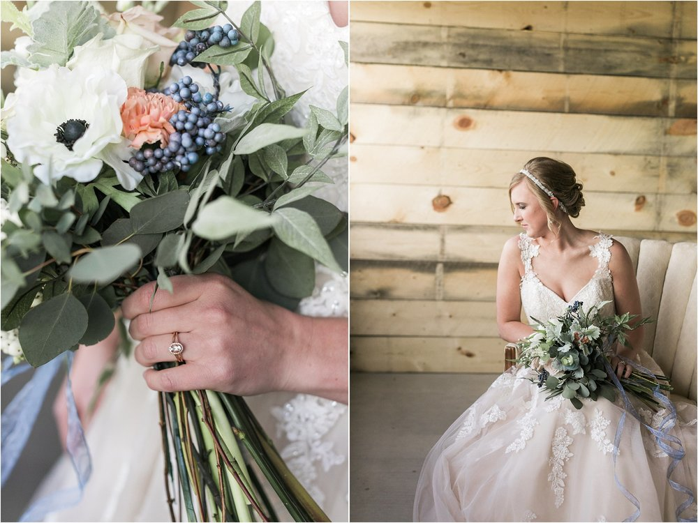 wedding ring while holding bouquet bride sitting in vintage chair
