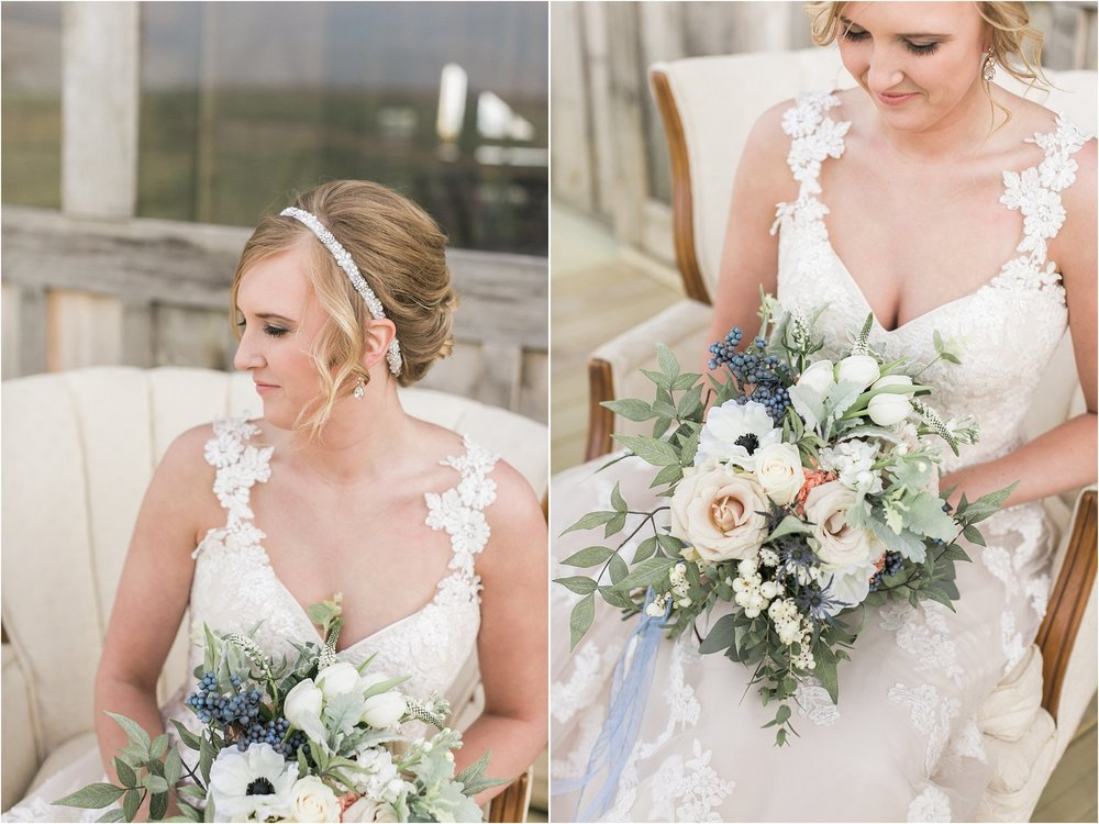 bride and bouquet sitting outside on a vintage chair holding flowers