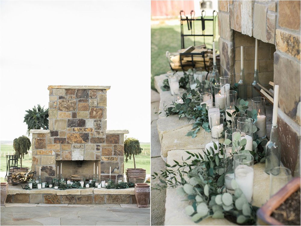 outdoor fireplace with patio ceremony location