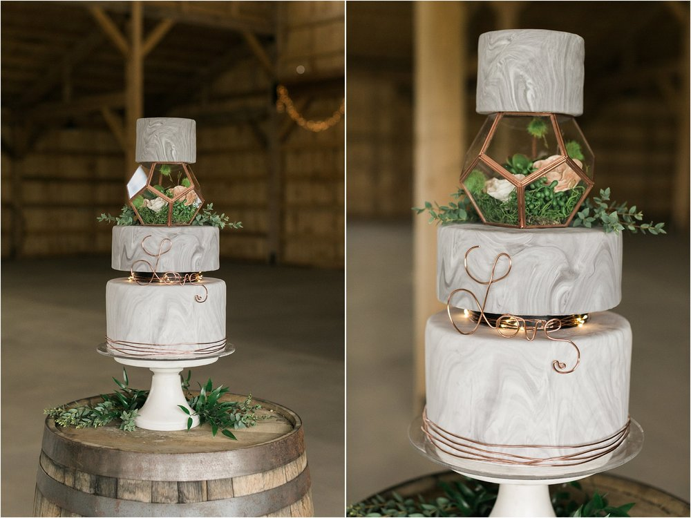 marble and copper cake with terrarium