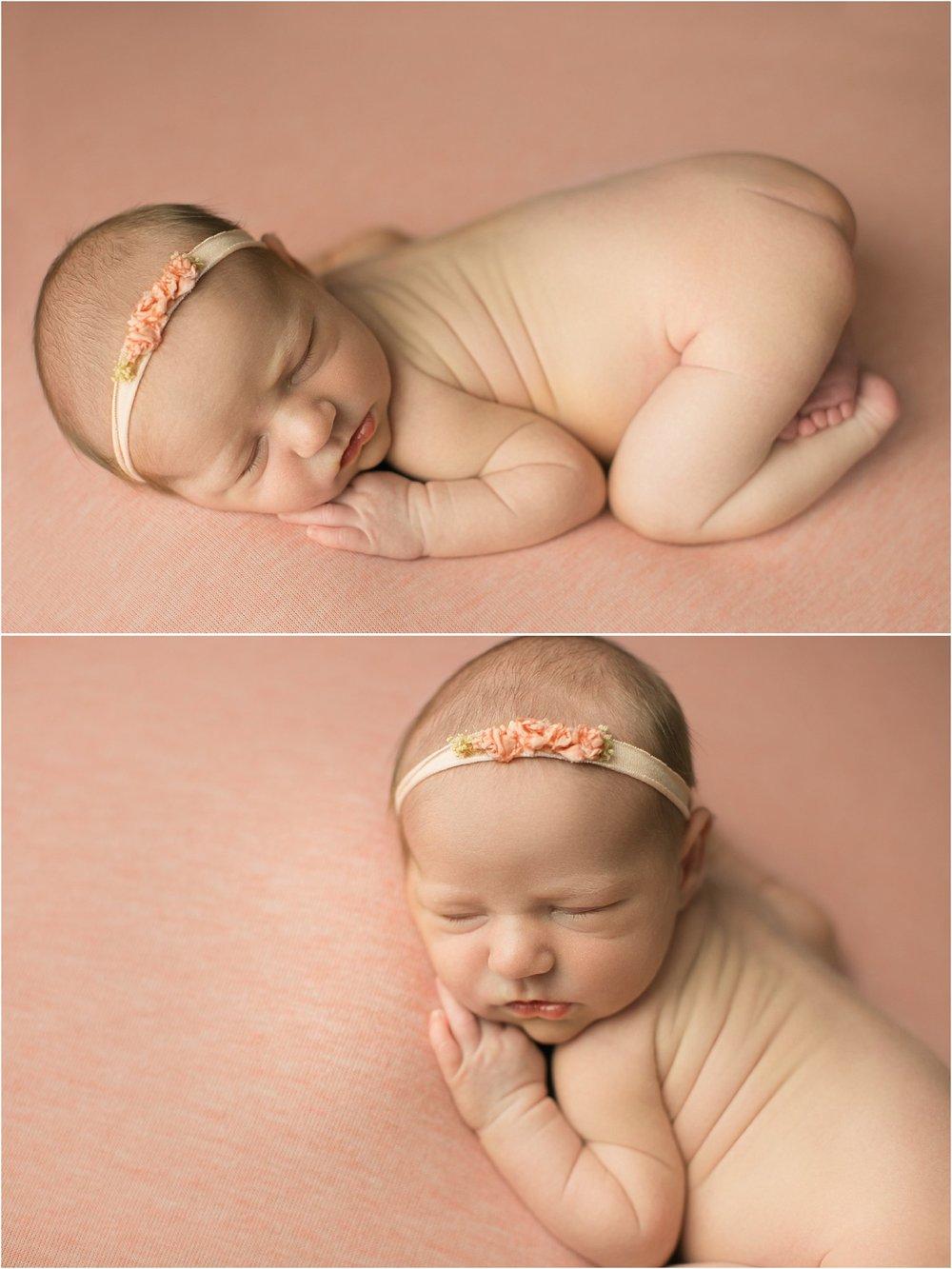 newborn baby girl on peach background tushie up pose