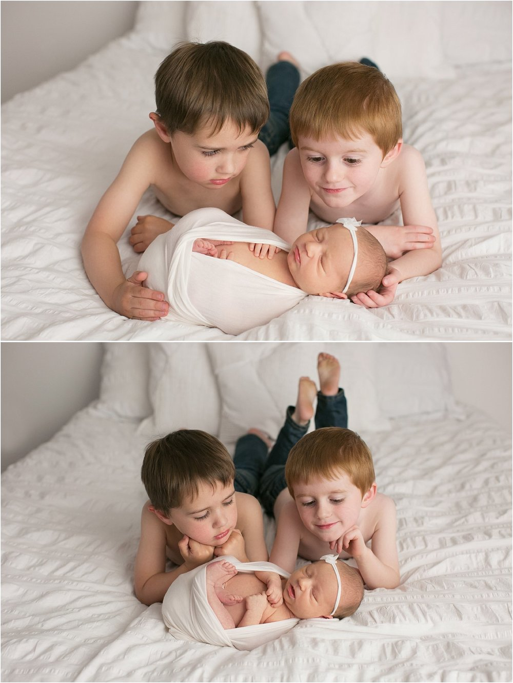 twin brothers holding their new baby sister laying on a white bed