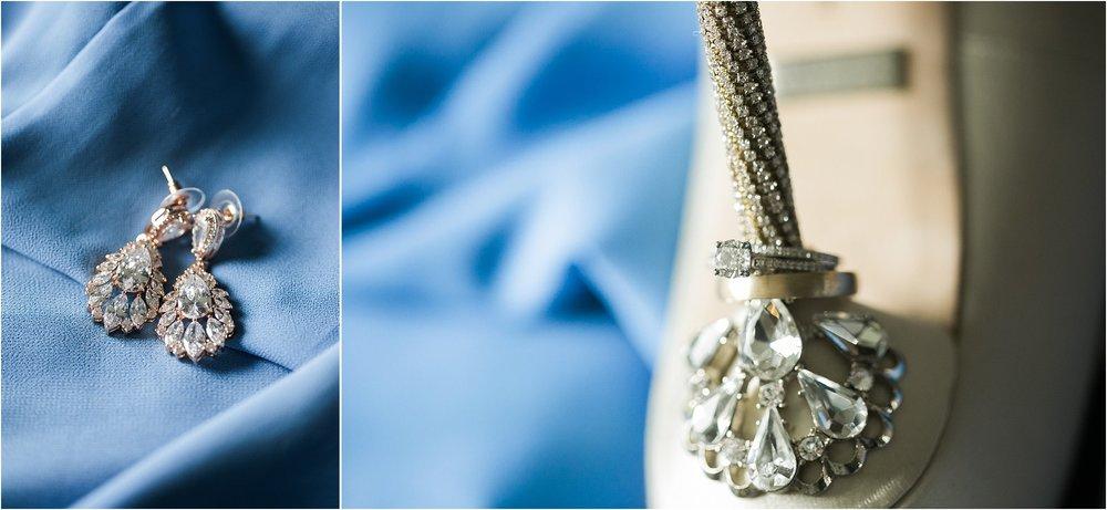 rose gold earrings and wedding rings on heels