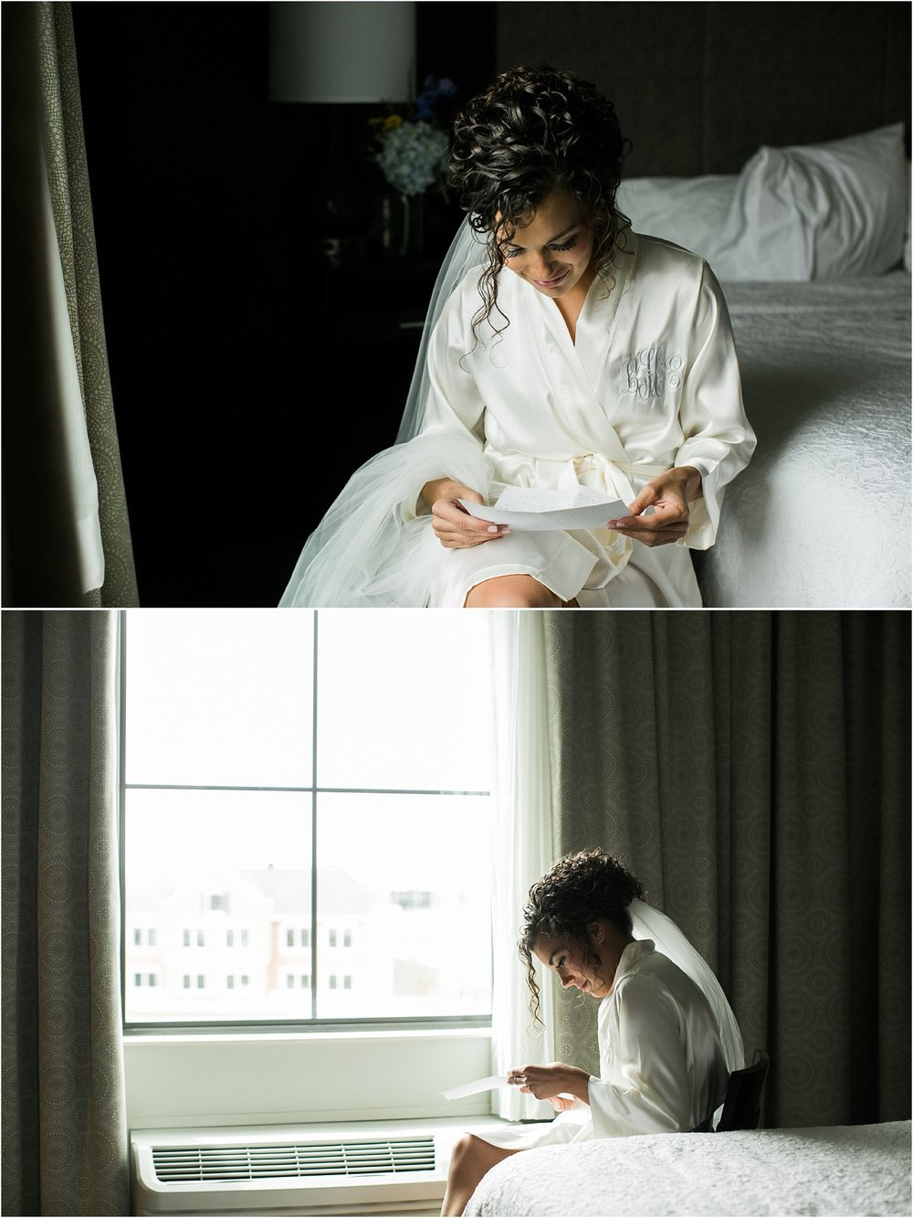 bride reading letter from her groom in a white silk robe