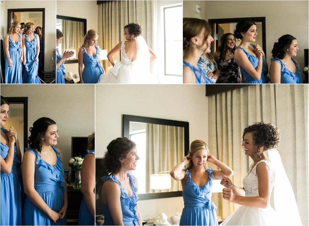 bridesmaids seeing the bride for the first time