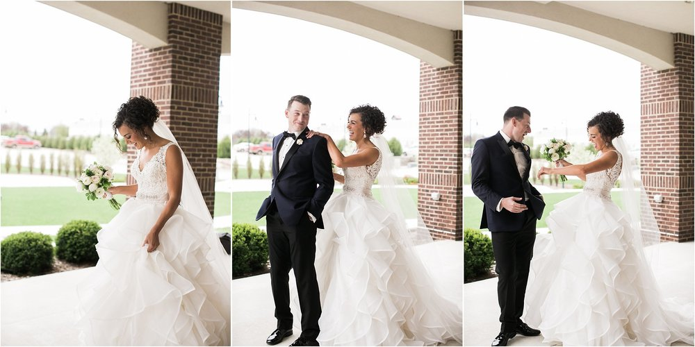 first look with groom on patio