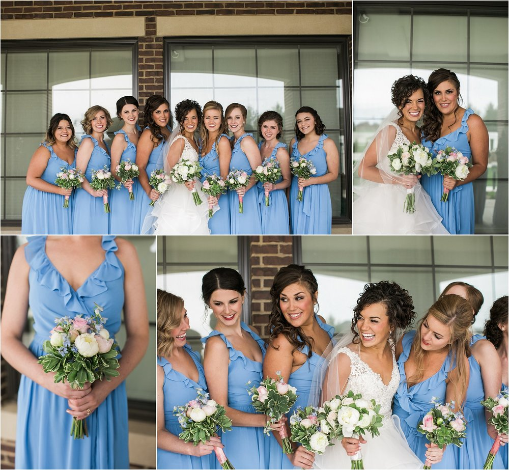 bride and her bridesmaids in cornflower blue dresses