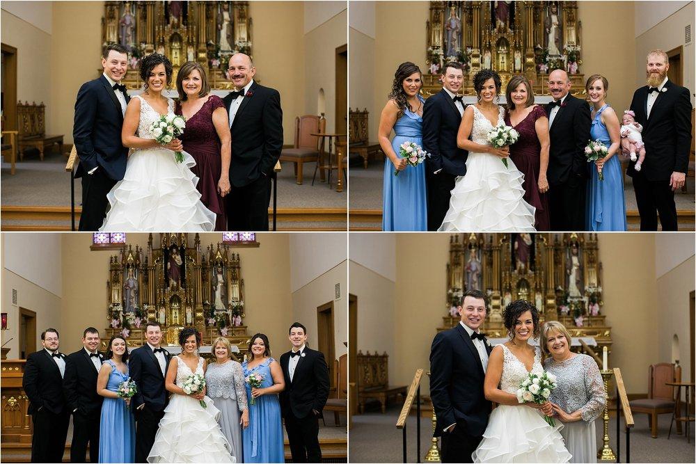 wedding day family portraits in catholic church