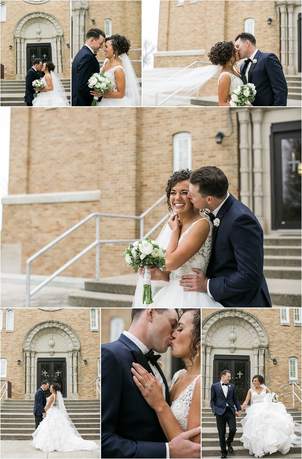 wedding couple in front of catholic church steps