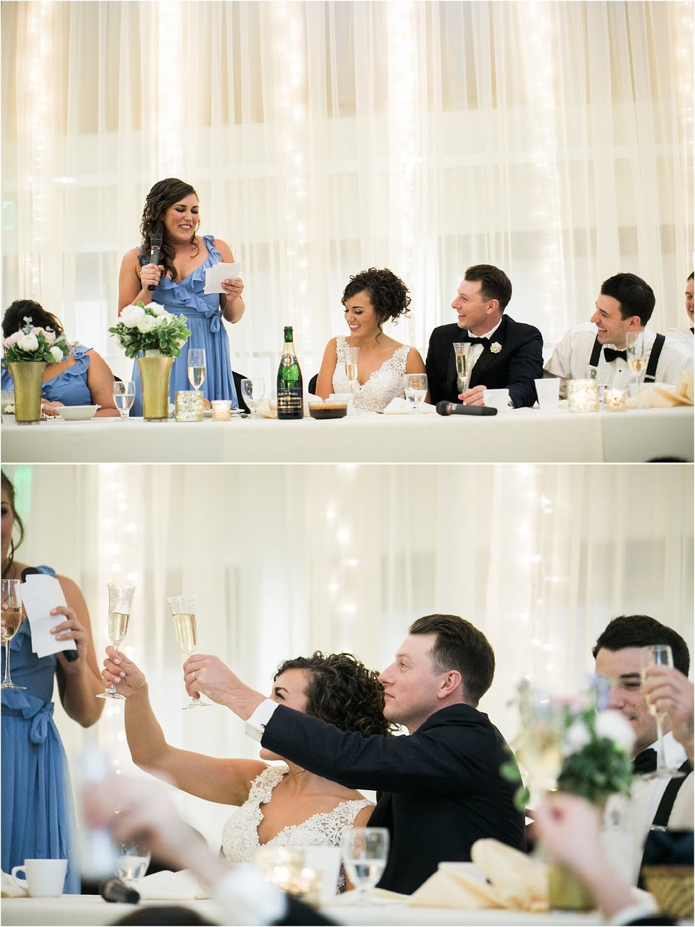 wedding party toasting bride and groom during maid of honor speech