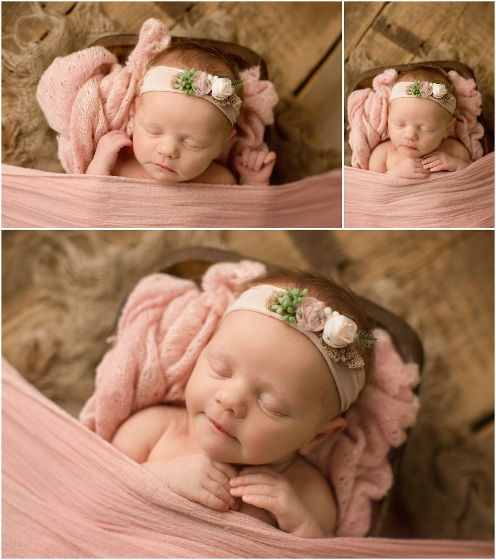 annistyn baby girl in trencher with pink blanket