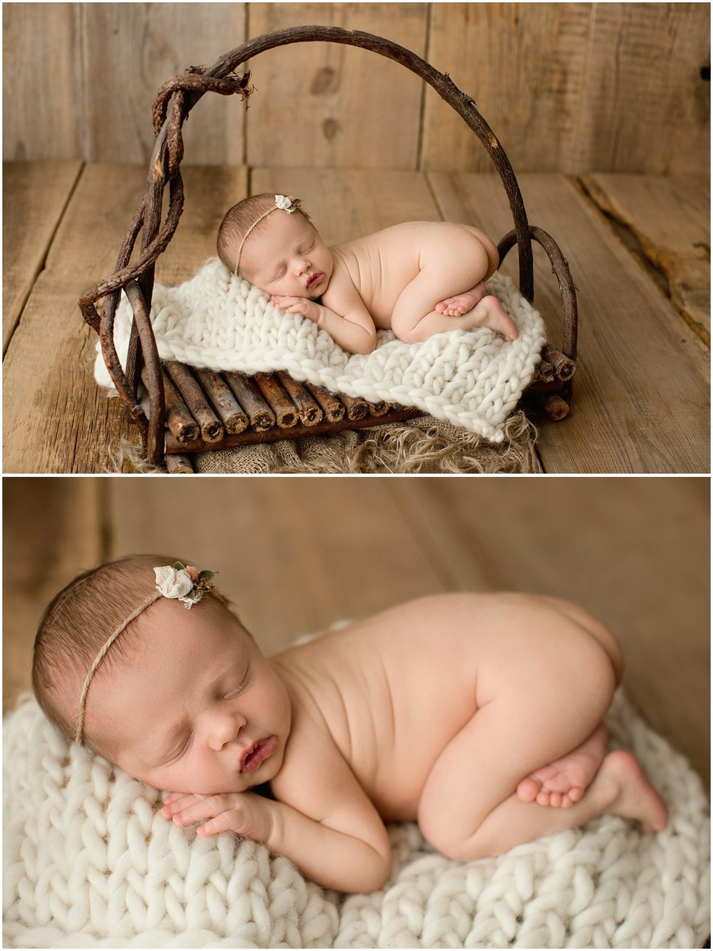 baby girl laying in a wooden prop
