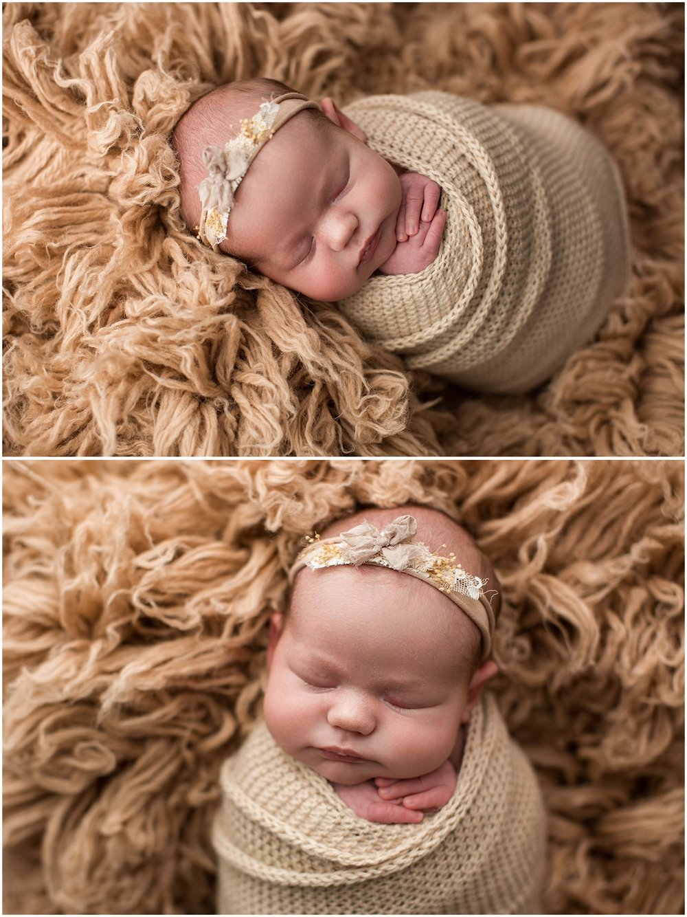 Annie wrapped with a knit wrap on a flokati rug