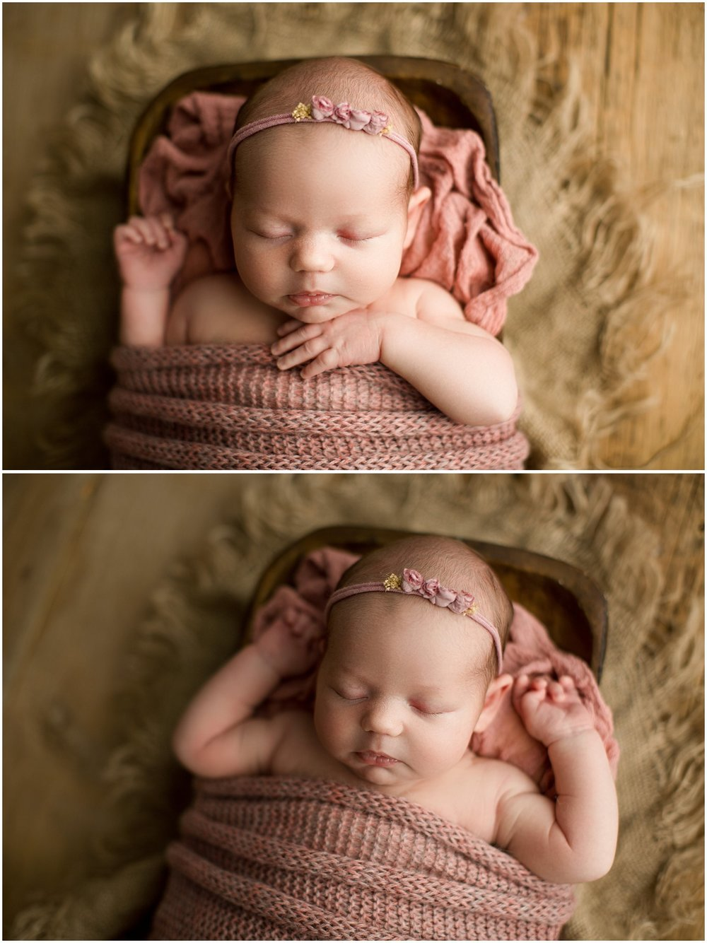 baby girl Annie wrapped in pink laying in a trencher
