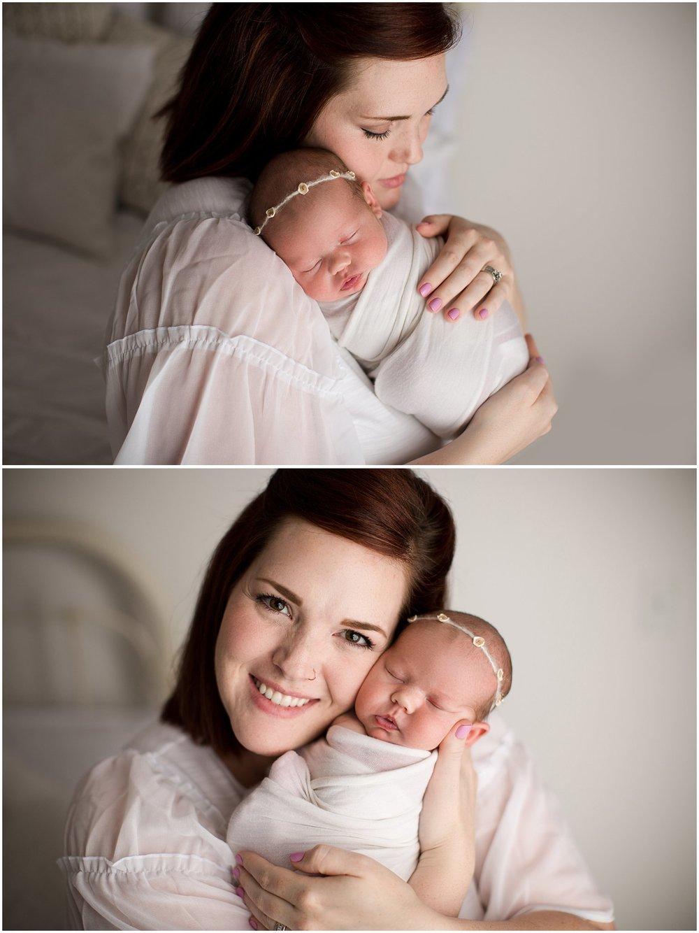 Newborn girl posed on Mom's shoulder