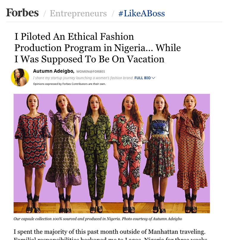 AUTUMN ADEIGBO Nigeria Pilot Forbes.com