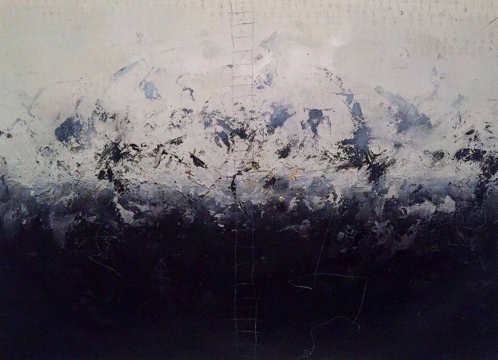 """42"""" x 60""""  BFK Rives paper, mixed media with charcoal and Gold Leaf"""