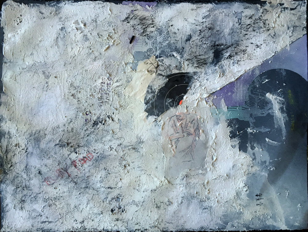 Black Stonehenge Paper, Acryllic, Screenprint, Chalk, Collage. 22'' x 30''
