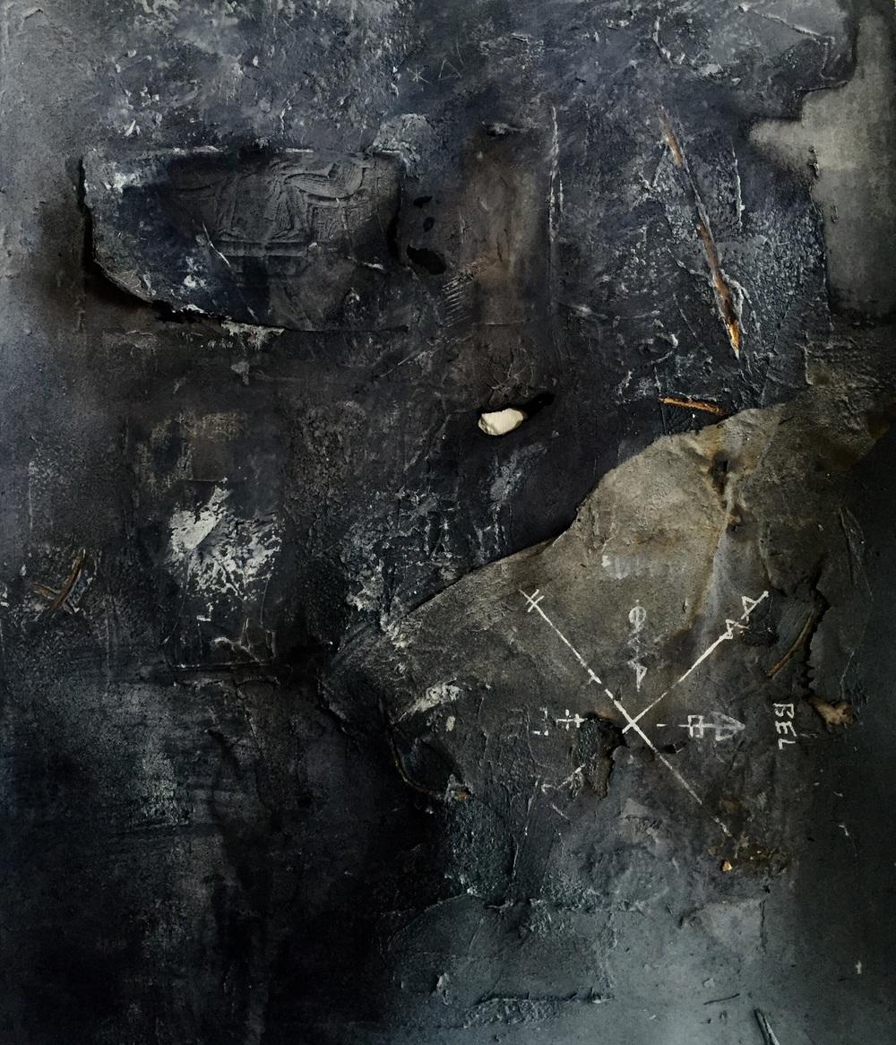 Black Stonehenge Paper, Acrylic, Screenprinted Paper, Gold Goauche, Spray Paint. 20'' x 24''