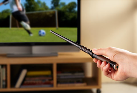 Wingardium Levolumeupsa!  This $90 piece of trash magic wand TV remote control can be yours today!