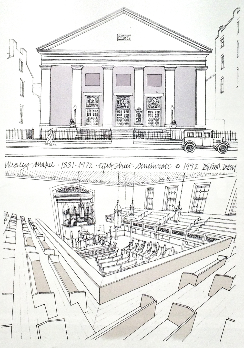 "Illustration of Wesley Chapel from "" Vanishing Cincinnati "" by David and Barbara Day."
