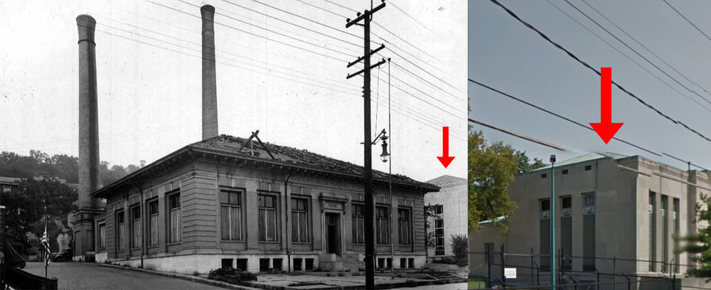 A comparison of where the old pump station was located in relation to the newly built station.  Current day image courtesy of Google Maps. [6]