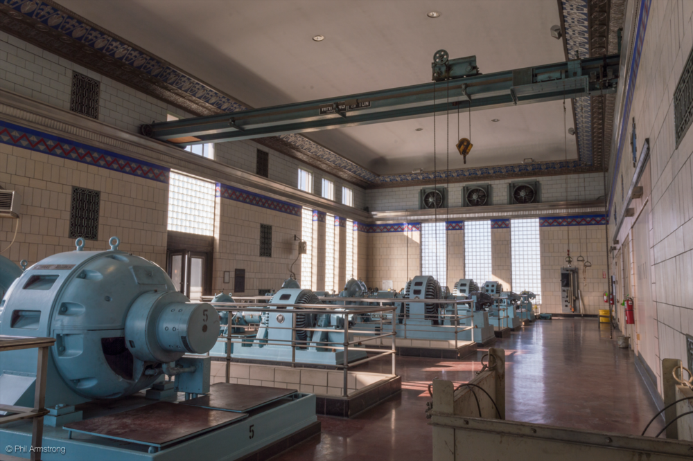The entirety of the pump room.  The entrance sits to the left and the control room (not pictured for security reasons) sits off to the right.  The Art Deco detailing is visible at the top and around the walls between glass block windows.
