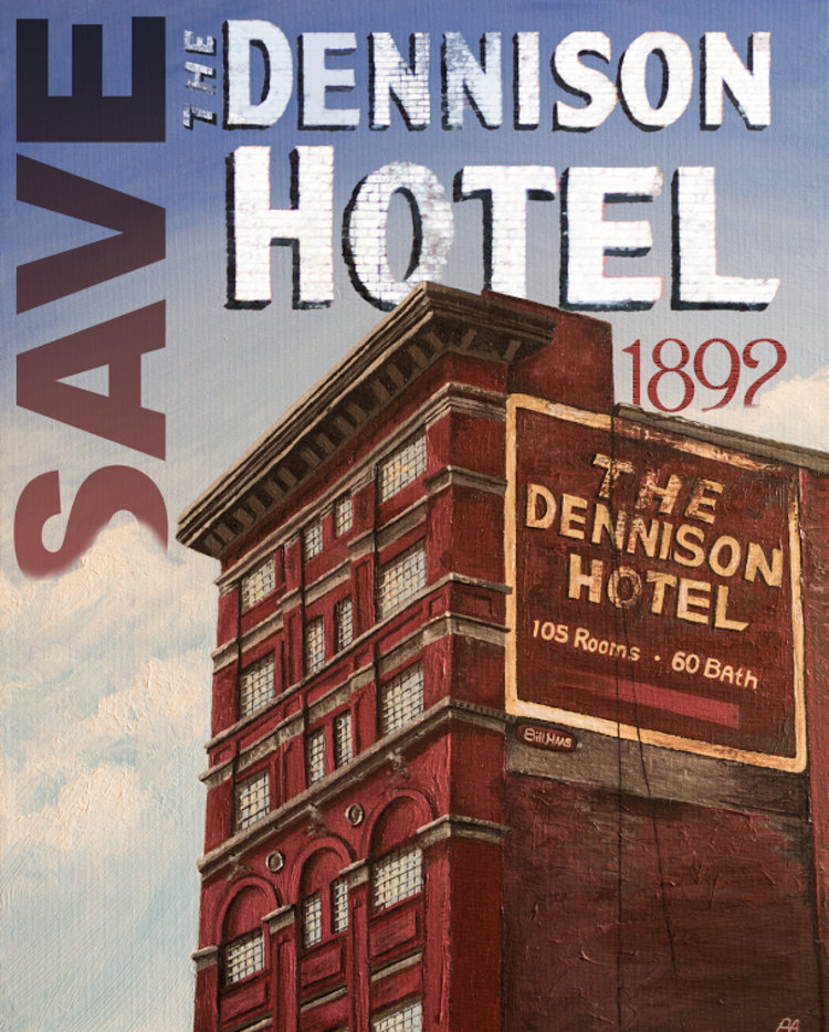 Save the Dennison Campaign - I painted the ill-fated Dennison Hotel to create a poster for the Cincinnati Preservation Collective's campaign to help raise awareness. Printed versions were hung around Cincinnati prior to its demolition.