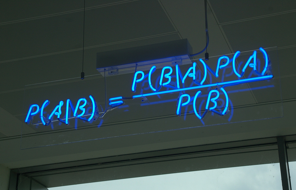 Bayes' Theorem, which expresses how a subjective degree of belief should rationally change to account for evidence. Img via Matt Buck - Flickr | CC BY-SA 2.0