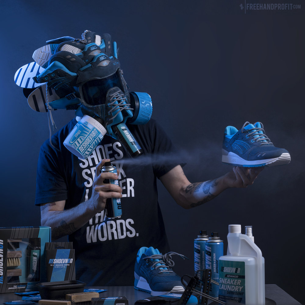 FREEHAND PROFIT X RESHOEVN8R Freehand Profit teams up with the ultimate sneaker cleaner on a new sneaker mask made from Asic Gel Lyte 3s.