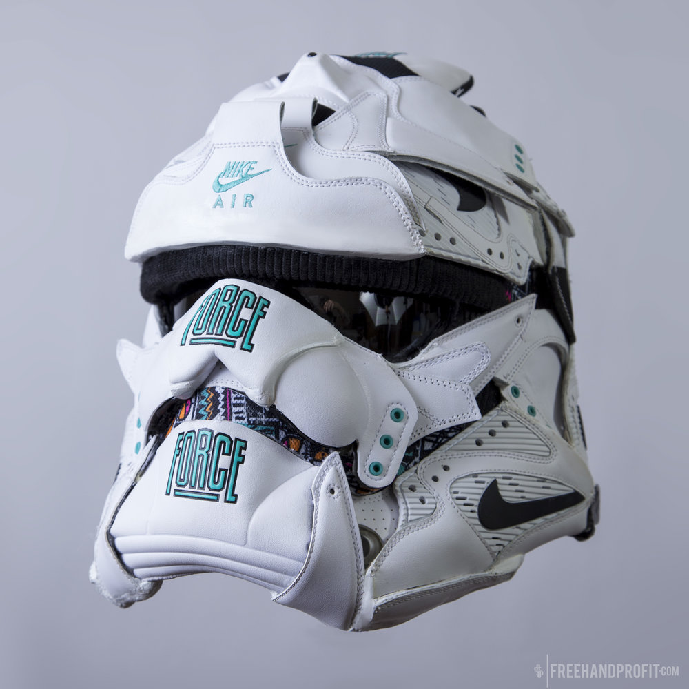 MAY THE 4TH BE WITH YOU! Freehand Profit reveals his newest Star Wars inspired sneaker helmet, a First Order Stormtrooper made from Nike Air Command Forces.