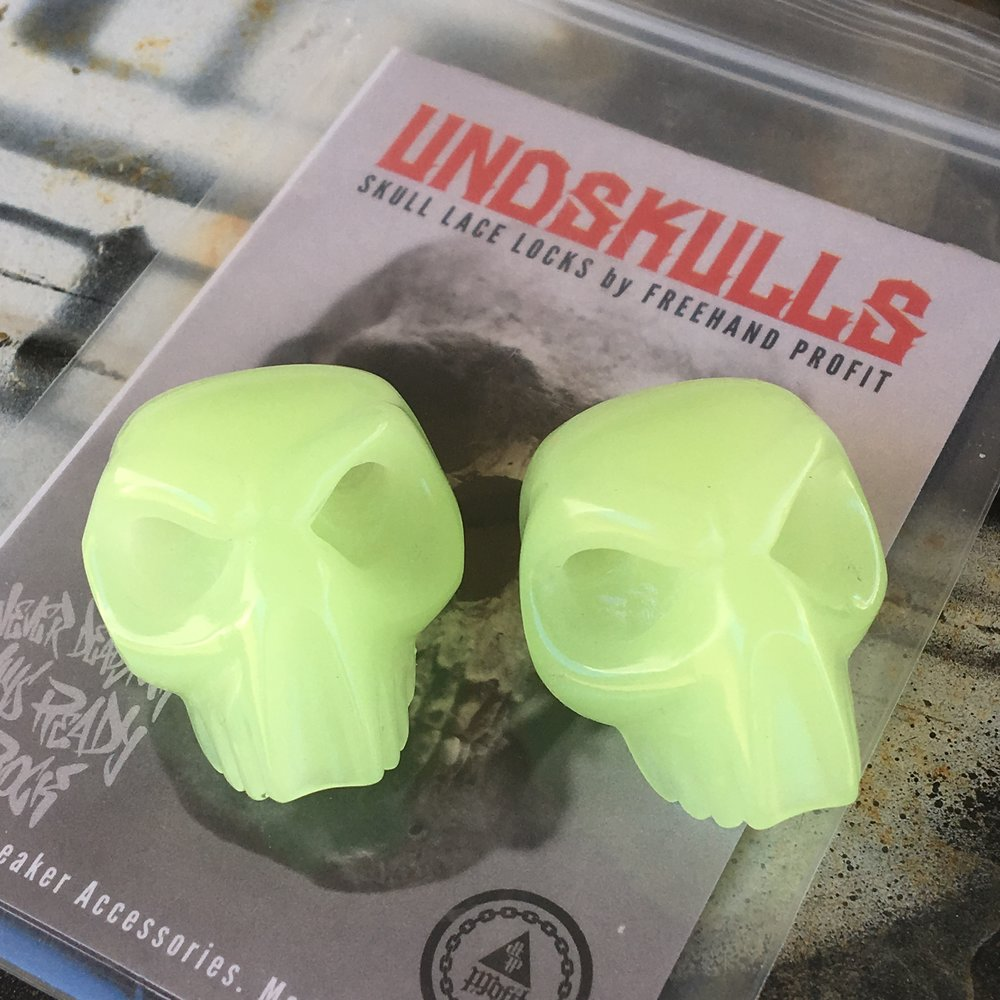 #UNDSKULLS BACK IN STOCK!   You asked for a restock, so you got a restock! Glow in the Dark Skull Lace Locks now available on ShopFreehand.com.