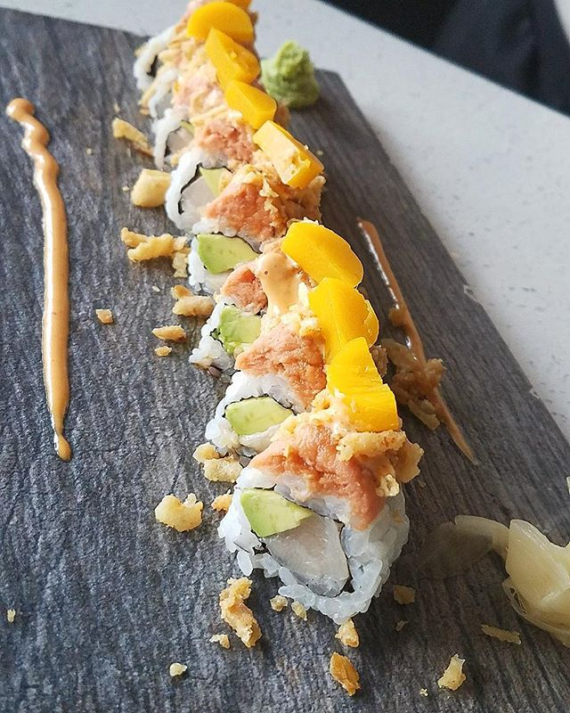 We offer a variety of sushi rolls to our customers !! Here you'll find the Hamachi Roll topped with Mango gelee !! So delicious 😋🤤 . . . . . #chef #food #restaurant #photooftheday #foodblog #influencer #enjoy #travel #yum #taste #bite #miami #lunch  #southbeach #yummy #sobe #lunchy #delicious #usa #dinner #brunch #fresh #tasty #yummy #wow #lol #amazing #blogger #sushi