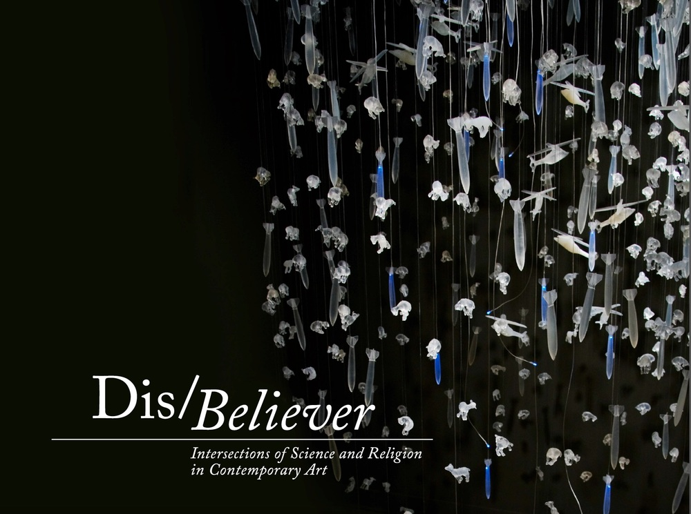 "Dis/Believer gives focus to contemporary artists who engage in ideas and moments when science and religion intersect. The concept is inspired by the ever-deepening conflict surrounding the reconciliation of scientific theory and spiritual faith, due to an explosive rebirth of religious fundamentalism and rivaling exponential discoveries in science. Debates on the compatibility of the natural and supernatural are raging in many forms of media and often feature scientist versus theologian, fundamentalist against atheist, and evolutionist opposed to creationist. The resulting dialogue is illuminating, divisive and exhilarating.  Visual artists are grappling with this concern and expanding the discourse in provocative and enlightening directions. Dis/Believer gathers a diverse selection of media in a conversation that spans from the origins of life to ethics in biotechnology, and from predictions of apocalypse to technology's role in faith. The grouping of artists offers a fresh and fascinating perspective on the complex debate of science and religion.  Participating artists: CarianaCarianne, Compassionate Action Enterprises, Teresa Diehl, The Glue Society, Industry of the Ordinary, Kysa Johnson, Marci MacGuffie, Joe Meiser, Trong Nguyen, Joshua Thorson. Sandra Yagi       Related programming: Panel Discussion, ""Evidence of Things Un/Seen: The Art of Reconciling Science & Religion""; and a performance by Industry of the Ordinary, Ten (Reprise), at the opening reception. Curated by Neysa Page-Lieberman. Click below to see the exhibition catalogue. (Contact me to request a hard copy.) Includes essay by philosopher Stephen Asma."